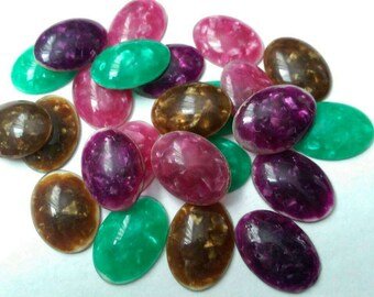 24 x Pearlescent Colorful Vintage Plastic 30x22mm Cabochons