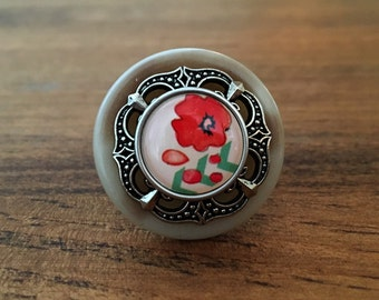 Red Hibiscus - Stacked Button Ring
