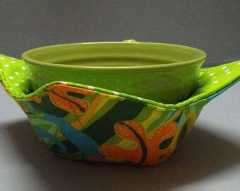 Microwave Bowl Cozy or Potholder Jane's Hothouse Garden Fabric