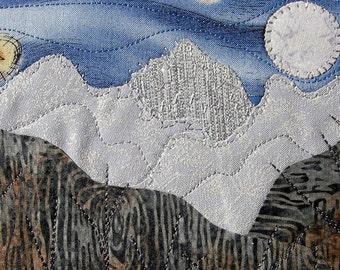 Postcard Quilt  Handmade Quilted Greeting Card, Postcard Art,Landscape Art, Outdoor Landscape, Nature Art,Quilt Postcard, Moon and stars