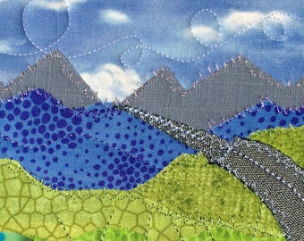 Mountain Art  - Fabric Postcard -  Landscape Art - Nature Landscape - Mountain Fiber Art - Dad Gift - Unique Gift - Birthday Card
