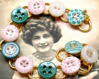 "1800s BUTTON bracelet, Victorian Calico china in pink & green,  7.75"" gold bracelet. Antique button jewellery."