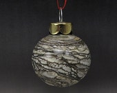 ON SALE Handmade Lampwork Glass Blown Hollow Ornament by Jason Powers SRA (Silvered Ivory 1)