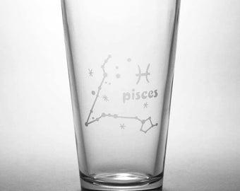 Pisces Zodiac Constellation Pint Glass