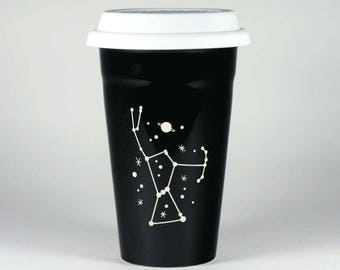 Orion Constellation Travel Mug - ceramic lidded coffee cup