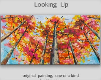 Tree art Original abstract painting Looking Up forest on oil painting canvas Ready to hang by tim Lam 48x24