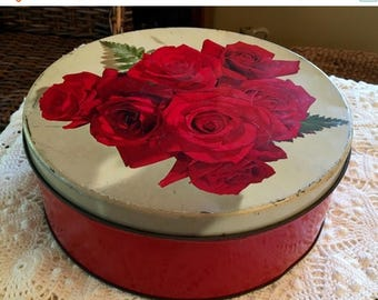 BIG SALE - Red Roses Tin - Colorful - Large Candy Tin 1940s -1950s