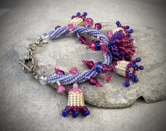 Floral Bracelet - Flower Bracelet - Flower Jewelry - Floral Jewelry - Beaded Bracelet - festival accessories - Seed Bead Bracelet