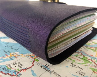 Junk Journal Purple Leather A6 Travel Junque Notebook 100 pages plus Moleskine Cahier OOAK Hand Stitched
