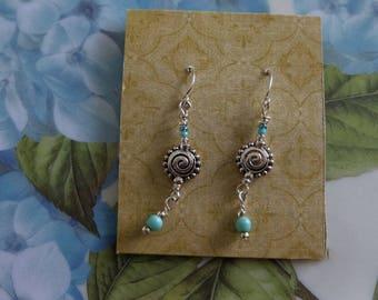Turquoise, silver earrings