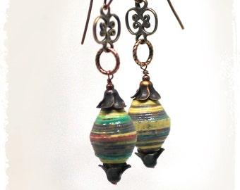 Everyday earrings for women, Bohemian tribal earrings, Boho earrings for her, Modern tribal earrings, Paper bead earrings, Hippie earrings