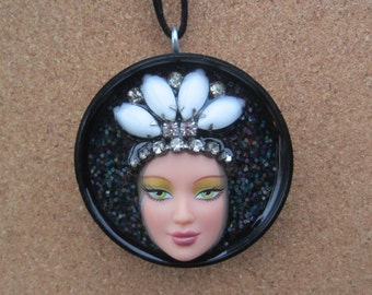 Bedazzled - upcycled Barbie Doll Face Pendant