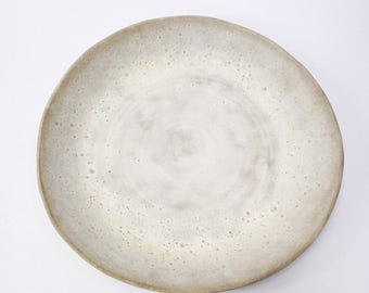 Ships now- white large serving playter bowl crater glaze sarapaloma
