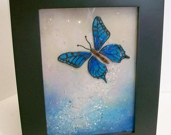 Fused Glass Painting (Blue Butterfly)