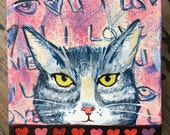 Valentine's Day Original Tabby Cat Painting - Gray Tiger Cat Valentine Painting - Gift for Cat Lover - Valentine's Day Cat Gift