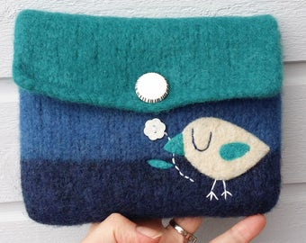 Felted bag pouch purse bag hand knit needle felted blue turquoise wool needle felted birdie bird flower