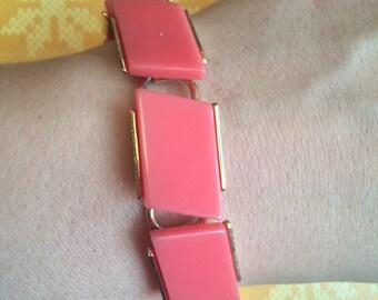 Pink Plastic Geometric Cabochon Vintage Bracelet