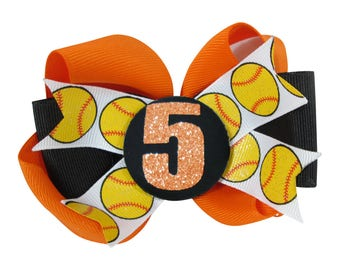 Softball Glitter Hair Bow for Girls - Choose Player Number and School Team Colors, Orange/Black