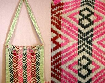 Closing Shop Sale 45% Off Vintage 70's Colorful  Folk Ethnic WOVEN Wool Shoulder Bag / Purse