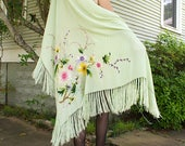 Celery Green Floral Shawl 1920's authentic Silk with Pink embroidered multicolored flowers