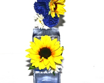 Sunflower Decorated Liquor Bottle Transparent Cobalt Blue w Blue Ribbon Gift