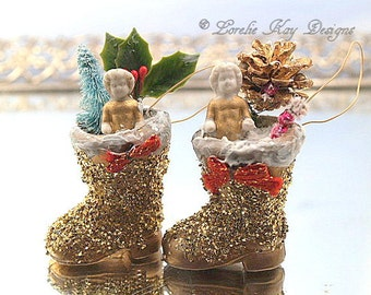 Pair Tiny Frozen Charlotte Ornaments Santa Boot Ornie Feather Tree Decoration One-of-a-Kind Mixed Media