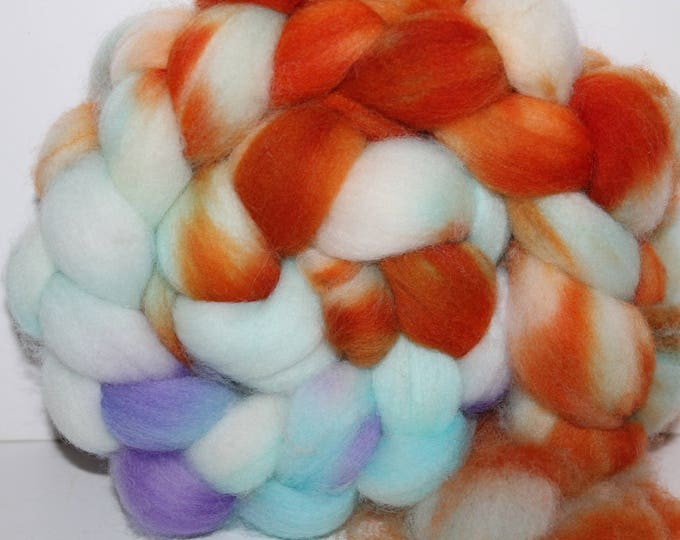 Kettle Dyed Falkland Wool Top.  Soft and easy to spin. 4oz  Braid. Spin. Felt. Roving. F129
