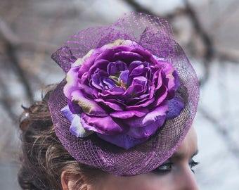 Purple Floral Fascinator