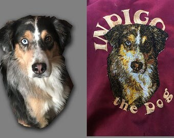 Your dogs portrait embroidered on a kitchen apron