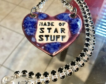 Made of Star Stuff Ceramic Necklace with Black Rhinestone Chain