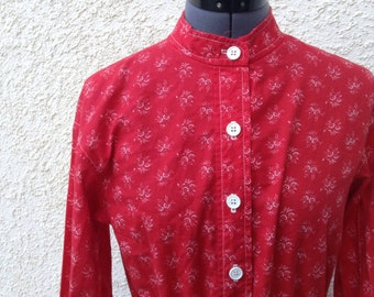 Vintage 60s 70s red floral print top / tunic / boho / hippie