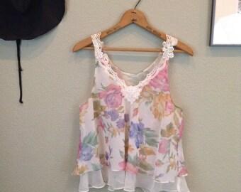 Vintage 80s sheer floral print lingerie set ~ romantic ~ tap shorts ~ crop top
