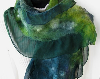 Winter Scarf for Women Nuno Felted Scarf Hand Dyed Silk and Wool Teal chartreuse green scarf unique scarf gift for her boho womens fashion