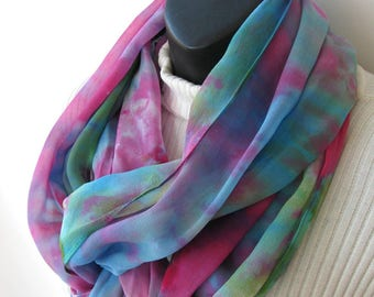 Infinity scarf hand dyed silk infinity scarf for women spring summer fashion scarf fuschia pink blue green colorful scarf gift for her mom