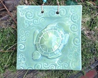 Sea Turtle Tile Tidal Pool Green Glaze