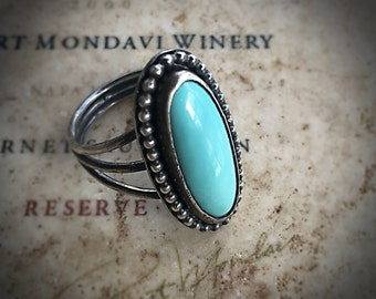 Turquoise Ring - Silver Ring - Boho Ring - Summer Jewelry - Natural Turquoise Silver Ring - December Birthstone Ring Gem Ring - Boho Jewelry