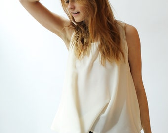 Ivory Silk Crepe De Chine cropped swing Tank Top