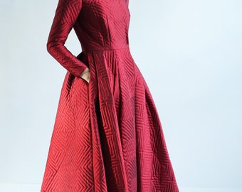 Sample SALE long luxurious Red silk coat  with quilted texture.