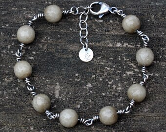 Taupe agate sterling silver beaded bracelet
