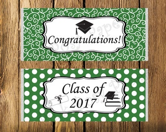 Green and White Graduation Large Candy Bar Wrappers - Instant Download