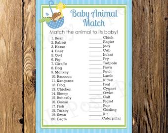 Printable Noahs Ark Boy Shower Baby Animal Match Game - Instant Download