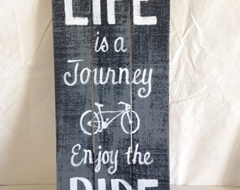 Life is a Journey enjoy the ride sign 11 x 23 inches bicycle home wall decor inspirational quote phrase