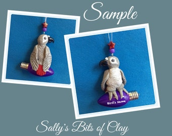 Congo African Grey Parrot Bird Christmas Holidays Light Bulb Ornament OOAK Sally's Bits of Clay PERSONALIZED FREE with bird's name