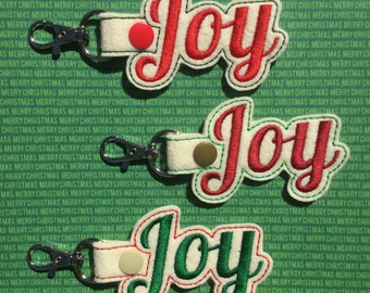 Christmas Embroidered Key Fob, Key Chain