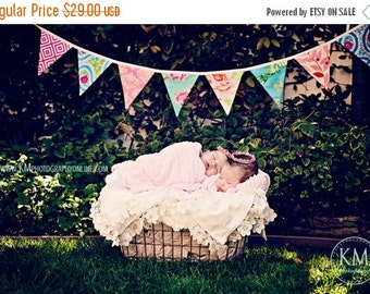ENTIRE Store On SALE Fabric Flag Bunting Multi Colored Surprise Banner of Large, Double Sided Flags in a Designer's Choice Mixed Color Theme