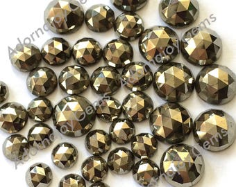 Gemstone Cabochon Pyrite 6mm Rose Cut FOR TWO