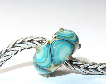 Luccicare Lampwork Bead - Layers -  Lined with Sterling Silver