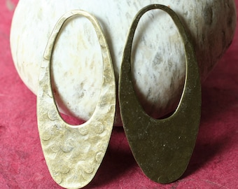 Hand hammered antique brass large oval dangle drop charm size 47x22mm, 2 pcs (item ID XW01291ABD)