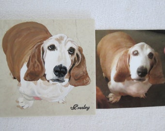 Hand Painted Pet Portrait 6 x 6 inch Ceramic Tiles and Made to Order Bassett Hound by Shannon Ivins