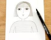 Original fine line illustration  - New Fringe - girl by Jane Foster signed and dated  - one off